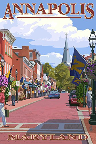 Annapolis, Maryland - Street View (12x18 Art Print, Wall Decor Travel Poster)