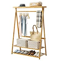 COPREE Bamboo Garment Coat Clothes Hanging Heavy Duty Rack with Organizer Storage Shelf