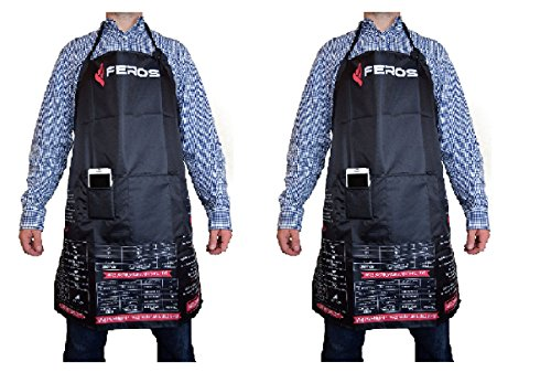 FEROS Cheat Sheet BBQ Apron - (2 pk) - grill times and temperatures printed upside down! Waterproof black apron with white lining - 3 set pockets on front for convenient - Save Usps On How Shipping To