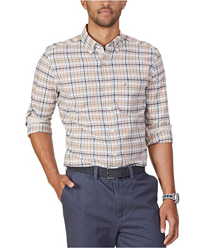 Plaid Logo Shirt - Nautica Men's Classic Fit Biking Plaid Shirt, Harvest Pumpkin, XX-Large