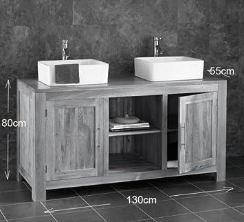 Alta Solid Oak Two Door X Bathroom Cabinet With Two