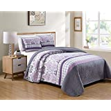 Kids Zone Home Linen 3 Piece Full/Queen Over Size Bedspread Set Damask Printed Pattern Lavender Purple White Grey