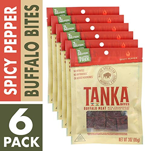 (Bison Pemmican Meat Bites with Buffalo & Cranberries by Tanka, Gluten Free, Beef Jerky Alternative, Spicy Pepper, 3 Oz, Pack of 6 )