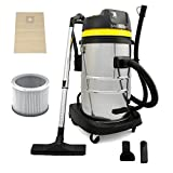 MAXBLAST Industrial Wet & Dry Vacuum Cleaner & Attachments, Powerful 1400W, 60 Litre, Stainess Steel