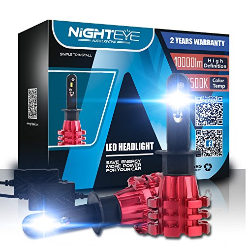 H1 Car Headlight Bulbs Conversion Kits,Nighteye 60W 10000LM 6500K Cool White Lumileds LUXEON ZES COB Chips LED Automotive Driving Headlight Bulbs (Pack of 2)- 3 Year Warranty