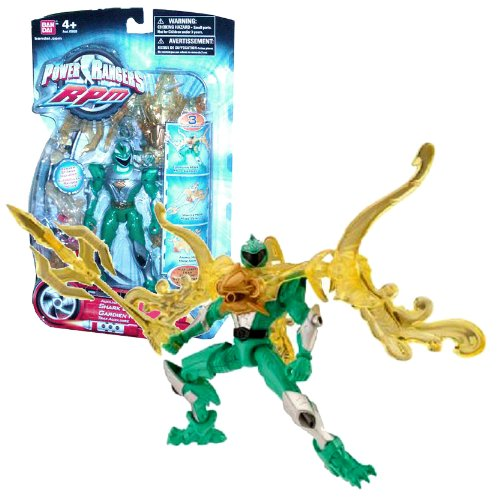 Bandai Year 2009 Power Rangers RPM Auxiliary Trax 5-1/2 Inch Tall Action Figure with 3 Transformation Modes - Shark Guardian with Green Ranger Plus Weapon and -