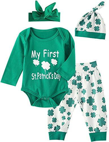 4Pcs Outfit Set Clover Baby Boy Girls My First St. Patrick's Day Pant Clothing Set (Green, 6-12 Months) -