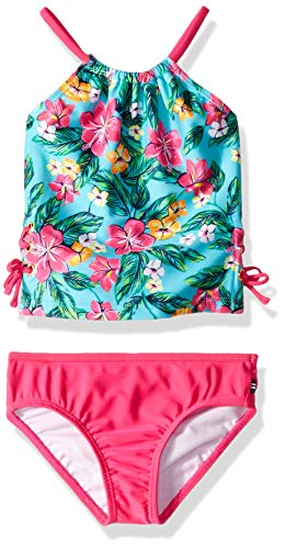 Nautica Toddler Girls' Tankini Swim Suit, Floral Pink, 4T (4t Bikini Swimsuit)