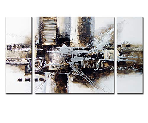 Noah Art-Black and White Abstract Art, 100% Hand Painted Abstract Oil Paintings on Canvas, Large 3 Panel Framed Modern Abstract Wall Art for Living Room Home Decor, 24 Inches Height x 48 Inches Width