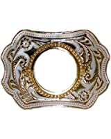 "U.S. Silver Dollar Belt Buckle 3.75"" x 2.75""-White Enamel & Gold Plated - Made In USA"
