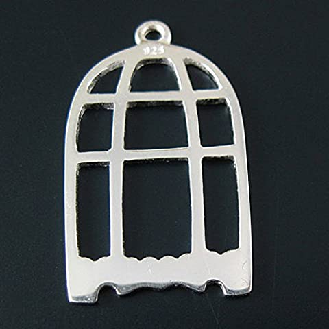 925 Sterling Silver Charm - Bird Cage Charm Pendant ( 25mm) 1 piece (Sterling Silver Charns)