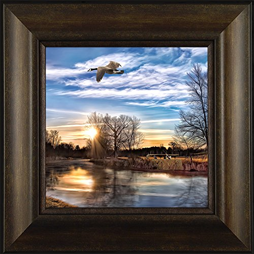 Morning Loner By Todd Thunstedt 20x20 Wildlife Canada Goose Hunting Lac Qui Parle Minnesota Remington 12 20 10 GA Gauge Shotgun Shell Shot Vest Camouflage Clothing Framed Art Print Wall (Hunting Framed)