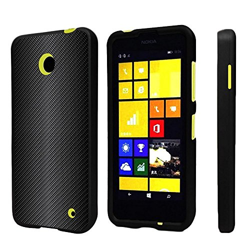 Premium Protection Slim Light Weight 2 Piece Snap On Non-Slip Matte Hard Shell Rubber Coated Rubberized Phone Case Cover with Design for Nokia Lumia 635 630 (Window Phone) - Black Carbon Fiber (Cell Case Nokia Phone 630)