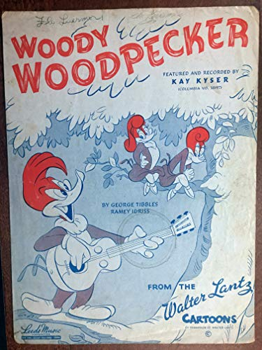 Woody Woodpecker Art - WOODY WOODPECKER song (1947 George Tibbles SHEET MUSIC), Excellent condition, great cover artwork