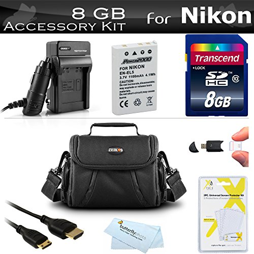8GB Accessory Kit For Nikon COOLPIX P530 P520 P510 P500 P100 Digital Camera Includes 8GB High Speed SD Memory Card + Extended (1100Mah) Replacement Nikon EN-EL5 Battery + AC/DC Charger + USB 2.0 Card Reader + Case + Mini HDMI Cable + More (Sd Nikon Coolpix For P530)