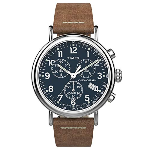 Men's Standard Chronograph Water Resistant Watch, Silver/Blue/Brown