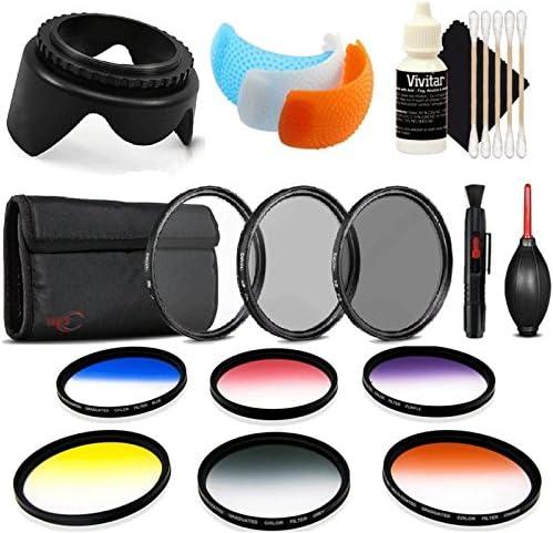 Dust Blower Tulip Lens Hood Lens Pen Flash Soft-Light Cover 3pc Cleaning Kit UV CPL ND 55mm Color Filter Kit