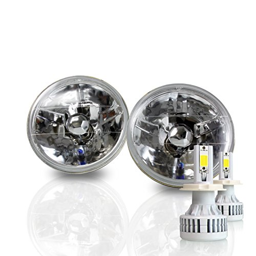 Optix 7 Inch Round Sealed Beam Headlight Conversion - fits H6024 - Clear Glass Diamond Cut Housing + H4 LED Kit 6000K Cool White 8000 LM (Conversion Beam Headlight Sealed)
