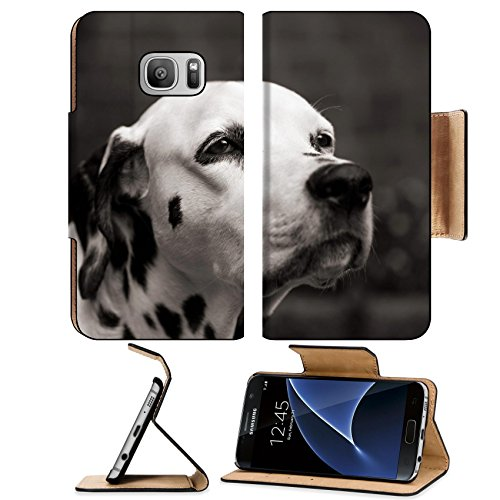 Trust Illuminated Keyboard (MSD Premium Samsung Galaxy S7 Flip Pu Leather Wallet Case IMAGE ID 29446790 old female dalmatian dog trustfully looking up focus on the eye black and white sepia toned)