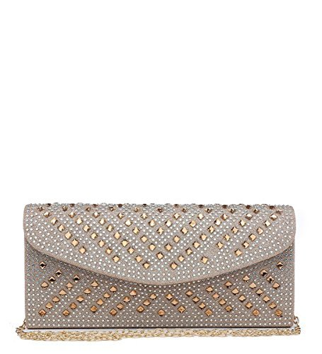 Womens Evening Foldover Bags N11 Diamante Dressy Ladies Occasion Shimmer Gold Clutch Party Prom wFqwxTSOC