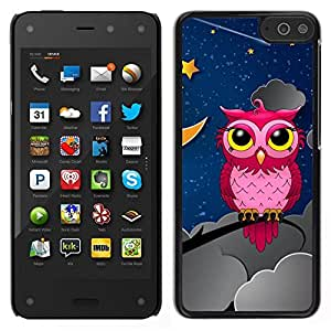 // PHONE CASE GIFT // Duro Estuche protector PC Cáscara Plástico Carcasa Funda Hard Protective Case for Amazon Fire Phone / Owl Pink Big Eyes Stars Night Sky Drawing Art /