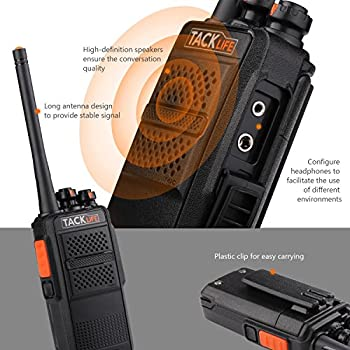 Tacklife Mtr01 Advanced Two-way Radio With Rechargeable 1300mah Li-ion Battery Uhf 400-470mhz Transceiver Earphone Long Working Distance 16 Channels Walkie Talkie   2 Pcs 4