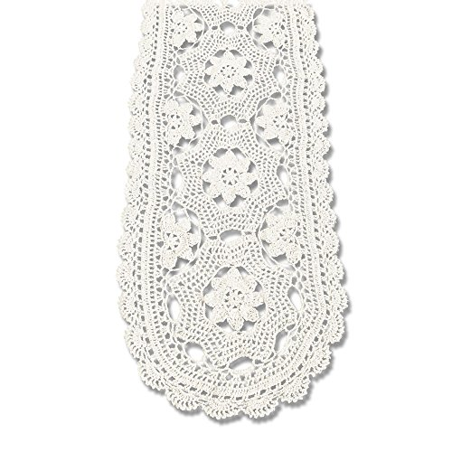 KEPSWET Cotton Floral Oval Handmade Crochet Lace Table Runner Beige (12x30 inch) (Inch 30 Runner)