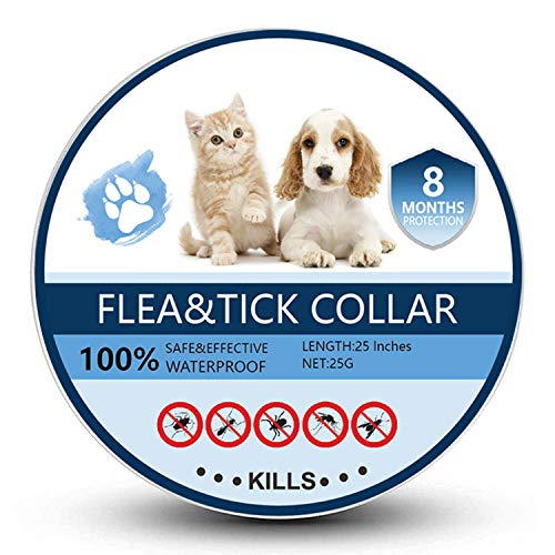 Bomior Flea and Tick Collar for Dogs & Cats - 8 Months Protection - Safe, Adjustable and Waterproof Design - Natural Ingredients Removes Fleas and Tick Treatment