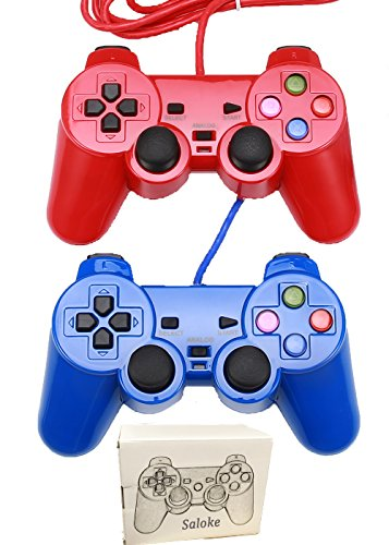 Saloke 2 Packs Wired Gaming Controller Ps2 Double Shock (Red Blue)