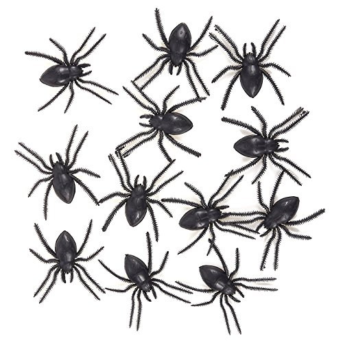 12 Pack Plastic Spiders - Large Fake Spiders - Includes Putty Tab for Sticking on Walls - The Perfect Halloween Decoration, Each Spider Measures 4.1 x 0.3 x 3.5 Inches ()