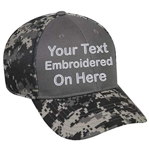 Custom Hat, Embroidered. Your Own Text. Adjustable Back. Curved Bill Many Colors (Charcoal Front/Black Digital Camo) ()