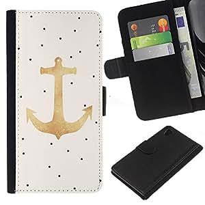 A-type (Dot Gold Anchor Sailor Boat Captain) Colorida Impresión Funda Cuero Monedero Caja Bolsa Cubierta Caja Piel Card Slots Para Sony Xperia Z4v / Sony Xperia Z4 / E6508