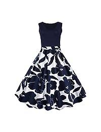 Frcolor Vestido de Mujer Vintage Scoop Neck Midi sin Mangas una línea Talla 4XL (Azul Marino)