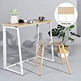 GreenForest Folding Desk for Small Places Home Office, Computer Table Writing Desk Small Office Desk, Oak