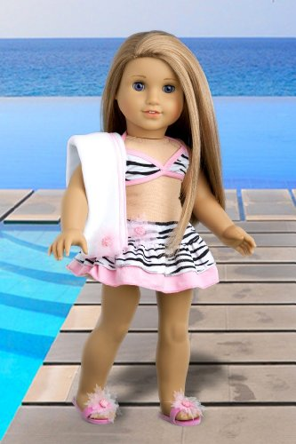 Fun with the Sun – 4 piece bikini outfit includes skirt, bikini top, matching flip flops and beach blanket – 18 Inch Doll Clothes, Baby & Kids Zone