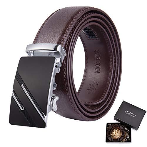 MOZETO Mens Genuine Leather Belts For Men Slide Ratchet With Metal Automatic Buckle Multi-style Adjustable Belt