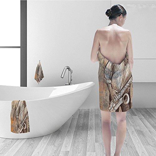 Print Ecru (Hand towel set Jazz Music Decor Jazz Musician Playing the Saxophone Solo in the Street on Grunge Background Art Print Bathroom Accessories Brown Ecru)