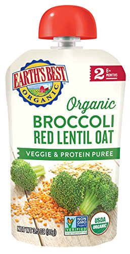Earth's Best Organic Stage 2 Baby Food, Broccoli Red Lentil and Oat, 3.5 oz. Pouch (Pack of -