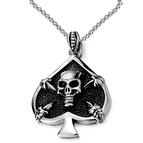 (Stainless Steel Spades Claw Skull Pendant Necklace with 30 Inches Ball Chain, Gothic Biker)
