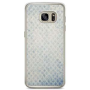 Samsung Galaxy S7 Transparent Edge Phone Case Elegant Blue Phone Case Pattern Subtle Samsung S7 Cover with Transparent Frame