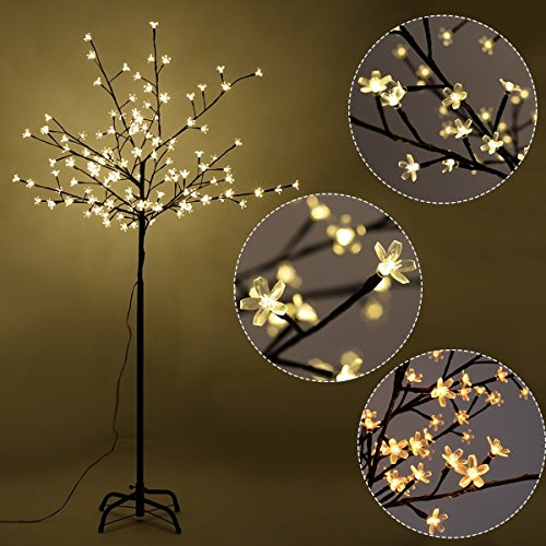 Goplus Cherry Blossom Lighted Tree LED Floor Lamp Warm White for Christmas Tree, Party, Wedding, and Festival Deoration (5FT 120LED) (Trees Inside)