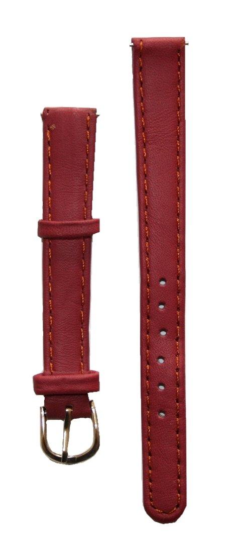 Uhrenarmband Damen Leder 12 mm mit 2 Federstegen Rot (0003) B2Q