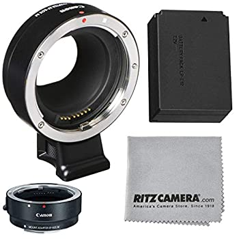 Image of Adapters & Converters Canon EOS M Mount Adapter for EF/EF-S Lenses +LP-E12 Battery + Lens Cleaning Cloth