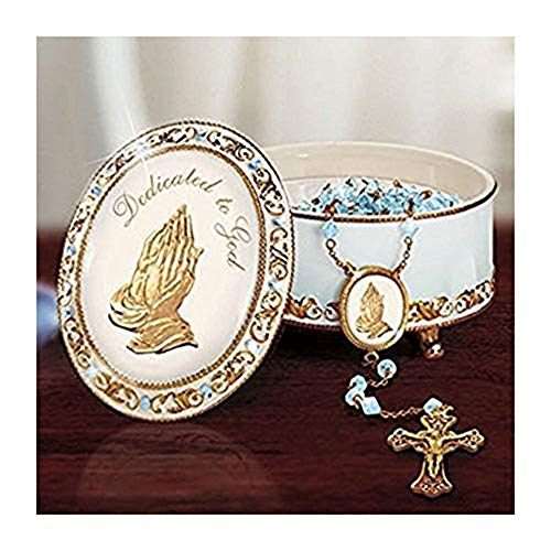 The Bradford Exchange Heirloom Porcelain Dedicated To God Rosary Box 22K Gold ()