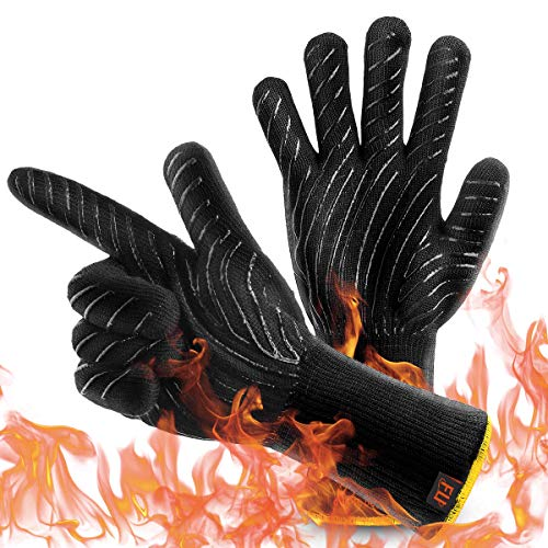 HolySpirit BBQ Grill Gloves, 1472°F Extreme Heat Resistant Food Grade Kitchen Oven Mitts, Fireproof for Smoker Baking Grilling, Welding, Cutting, Baking, L-Long (Black)