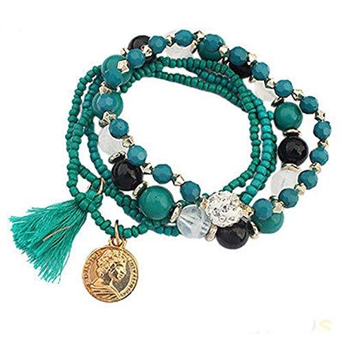 Girl Stylish Bohemian Multilayer Mixed Acrylic Beads Rhinestone Elastic Bracelet LOVE STORY (Green)
