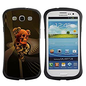 Fuerte Suave TPU GEL Caso Carcasa de Protección Funda para Samsung Galaxy S3 I9300 / Business Style Gold Orange Music Death Bones Rock