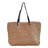 Sornean Large Knitted Straw Bag 100% Handmade Summer Beach Tote Bag Top Zipper Shoulder Bag … (Brown)