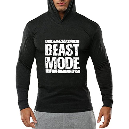 Hooded Long Sleeve Letter (Katesid Men's Gym Workout Bodybuilding Long Sleeve Casual Hoodie Sweatshirts Letter Printed Training Sports Pullover)