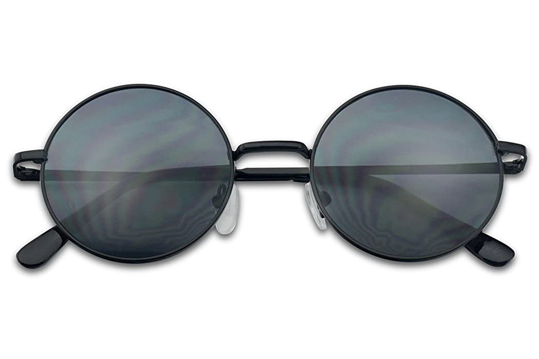 755bbeefb7 Small 45mm Round 60s John Lennon Circle Metal Frame Sunglasses (Black   Amazon.in  Clothing   Accessories